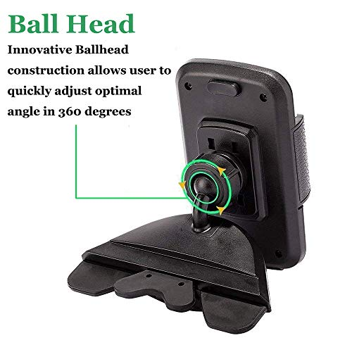 CD Slot Car Phone Mount Holder - Universal CD Slot Phone Holder for Car Compatible iPhone X 8 Plus 7 Plus 6s 6 Plus 5S Samsung Galaxy S5 S6 S7 S8 S9 S9+ Google Huawei HTC etc - Black by YipinNuo (Image #2)