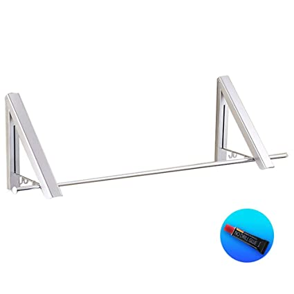 Bathroom Hardware Fold Collapsible Triangular Wall Mounted Clothes Storage Drying Rack With Hanging Rod For Heavy Duty Bathroom Balcony Laundry