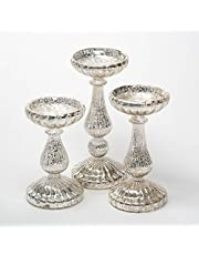 Richland Ribbed Unique Mercury Glass Pillar Candle Holder Set of 3
