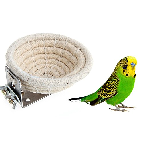 519l63esIHL - Handmade Cotton Rope Bird Breeding Nest Bed for Budgie Parakeet Cockatiel Parakeet Conure Canary Finch Lovebird and Small Parrot Cage Hatching Nesting Box