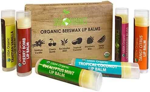 USDA Organic Lip Balm by Sky Organics – 6 Pack Assorted Flavors –- With Beeswax, Coconut Oil, Vitamin E. Best Lip Butter Chapstick for Dry Lips- For Adults and Kids Lip Repair. Made In USA