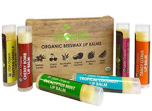 (USDA Organic Lip Balm by Sky Organics - 6 Pack Assorted Flavors -- With Beeswax, Coconut Oil, Vitamin E. Best Lip Butter Chapstick for Dry Lips- For Adults and Kids Lip Repair. Made In USA)
