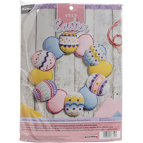 "Easter Eggs Wreath Felt Applique Kit-15""X15"" Round"
