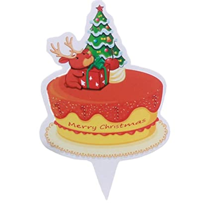oksale 50 pcs merry christmas birthday cake decoration flag paper cake toppers home children kids santa - Christmas Cake Decorations Amazon