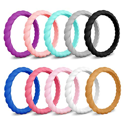 COOLOO Silicone Wedding Ring Women, 10 Pack Thin Stackable Braided Rubber Wedding Bands, Antibacterial Comfortable Durable, Affordable Fashion Elegant, Skin Safe