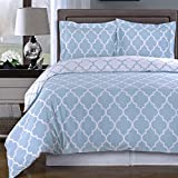 Duvet Cover Set and Pillowcases 3 piece King/Cal King Size (106''x92'') 100 Egyptian Cotton Modern Reversible Print Design Luxury Soft Pattern Bedding Light Blue with 4 Corner Ties