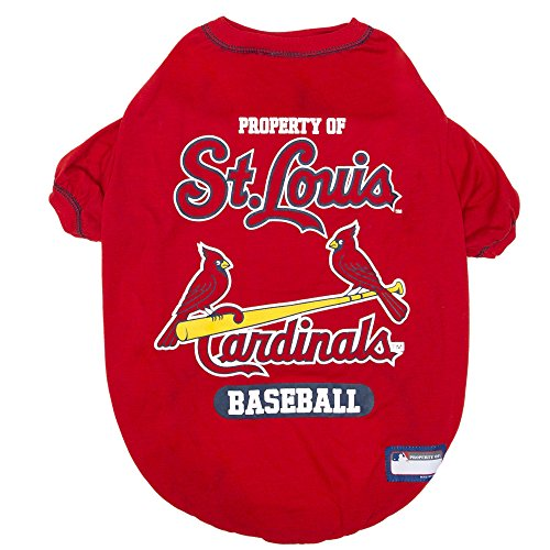 MLB Saint Louis Cardinals Dog T-Shirt, X-Large. - Licensed Shirt for Pets Team Colored with Team Logos