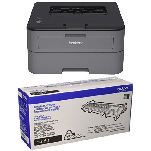 Brother Printer EHLL2320D Compact Laser Printer With Duplex Printing (Certified Refurbished) and High Yield Mono Laser Black Toner Cartridge by Brother