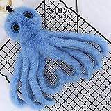 Key Chain Women Black Novelty 2018 Cute Octopus Keychains Women Pompom Artificial Rex Rabbit Fur Car Key Ring Long Tassel Fluffy Key Chain Bag Jewelry