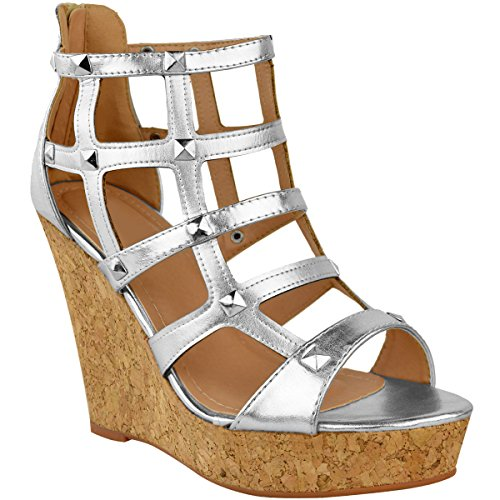 Fashion Thirsty Womens Ladies Wedge Sandals High Heels Caged Summer Party Gladiator Shoes Size Silver Metallic