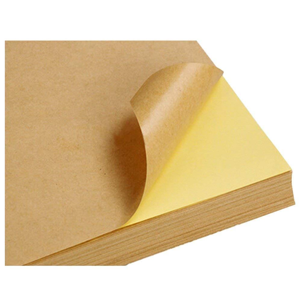 Adhesive Printing Paper 10pcs Kraft Sticker Paper Heat Toner Transfer A4 Self Adhesive Brown Kraft Printing Copy Label Paper for Laser Inkjet Printer