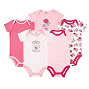 Hudson Baby Baby Infant Cotton Bodysuits, Tea Party 5 Pack, 12-18 Months