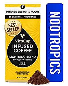 VitaCup Lightning Nootropic Ground Coffee | 2X Caffeine | Intense Energy Focus | Vitamin-Infused | Vegan | B1, B5, B6, B9, B12, D3 | for Drip Coffee Brewers & French Press, 12 oz bag from VitaCup