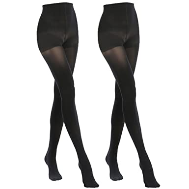 c02be17dddf MANZI 2 Pairs 70 Denier Women s Tights Stretch Run Resistant Opaque Control  Top Tights