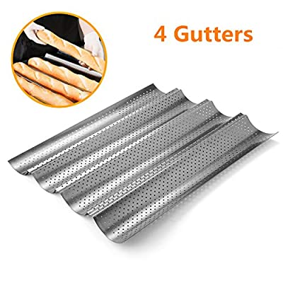 Perforated Baguette Pan, Homono Non-Stick Perforated French Bread Pan Wave Loaf Bake Mold, 15 by 13 by 1 inch 4 gutters