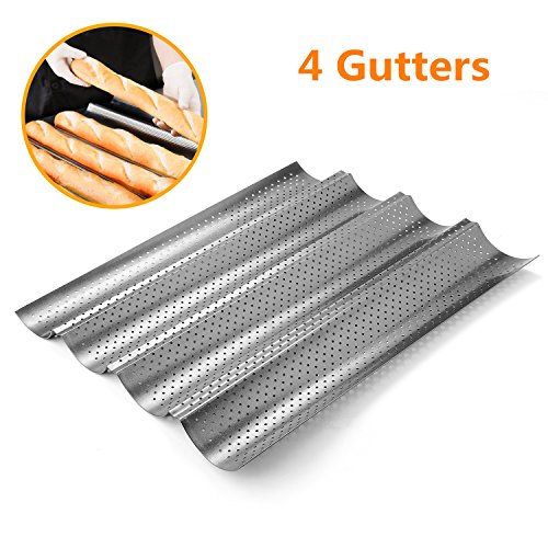 Perforated Baguette Pan, Homono Non-Stick Perforated French Bread Pan Wave Loaf Bake Mold, 15 by 13 by 1 inch 4 gutters (Color: grey metallic) by Homono (Baguette Pan Perforated compare prices)