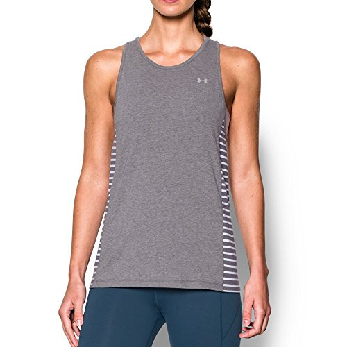 Under Armour Womens Rest Day Tank, Carbon Heather (091)/White, X-Large