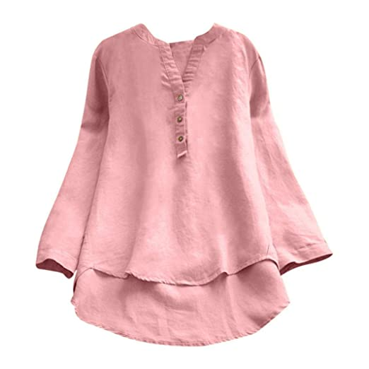0c3d3ab78be Challyhope Women Simple Solid Linen Blouse Long Sleeve Casual Loose Button  Henley Tops Cruved Hem Shirt