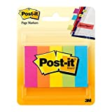 """Post-it Page Markers, .5"""" x 2"""", Assorted Fluorescent Colours, 5 Pads/Pack"""