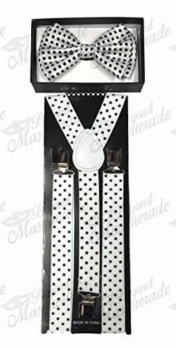 (4everStore Unisex Bow Tie & Suspender Sets, White Polka Dots)