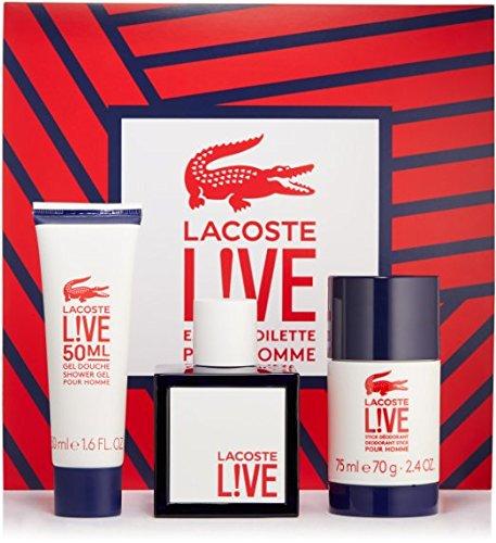 Lacōste Lîve 3 Piece GIFT SET For Men 3.3 Oz Eau De Toilette Spray + 1.6 Oz Shower Gel + 2.4 Oz Deodorant Stick