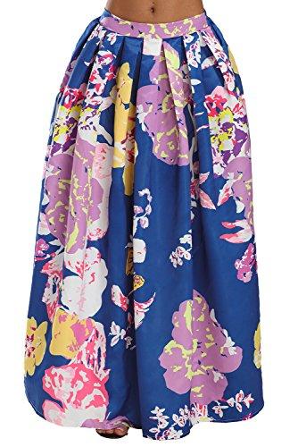 Flare Taille Maxi Chic vase Navy Violet Imprimer Jupe Haute Floral BaronHong qTf4wx