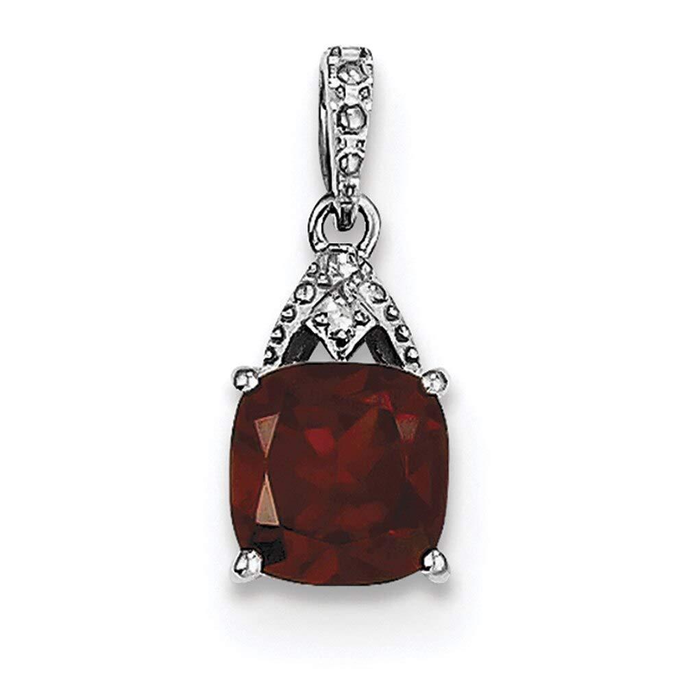 Lex /& Lu Sterling Silver w//Rhodium Diamond Garnet Cushion Pendant
