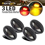 Partsam For 1999-2010 Ford F350 F450 F550 LED Side Fender Marker Light Smoke Lens 2x Amber + 2x Red Kit