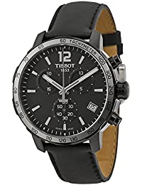 Quickster Chronograph Black Dial Black Leather Mens Watch T0954173605702