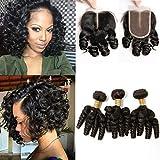 Amberhair Funmi Hair 3 Bundles With Closure Brazilian Virgin Hair 100% Unprocessed Human