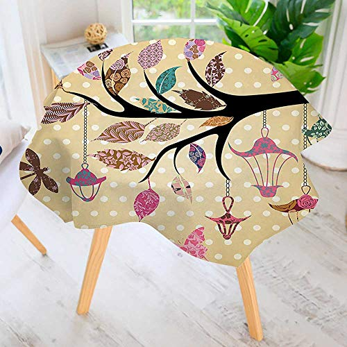 aolankaili Hand Screen Printed Tablecloth- Tree Branch with Original and Embellished Leaves Modern Printed Spill Proof Cloth Round Tablecloths 40