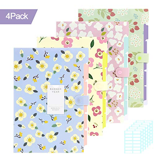 (Skydue 4 Pack File Folders, 5 Pockets Expanding File Folder with Snap Closure A4 Letter Size Accordion Document Organizer and 168pcs File Folder Labels for School and Office)