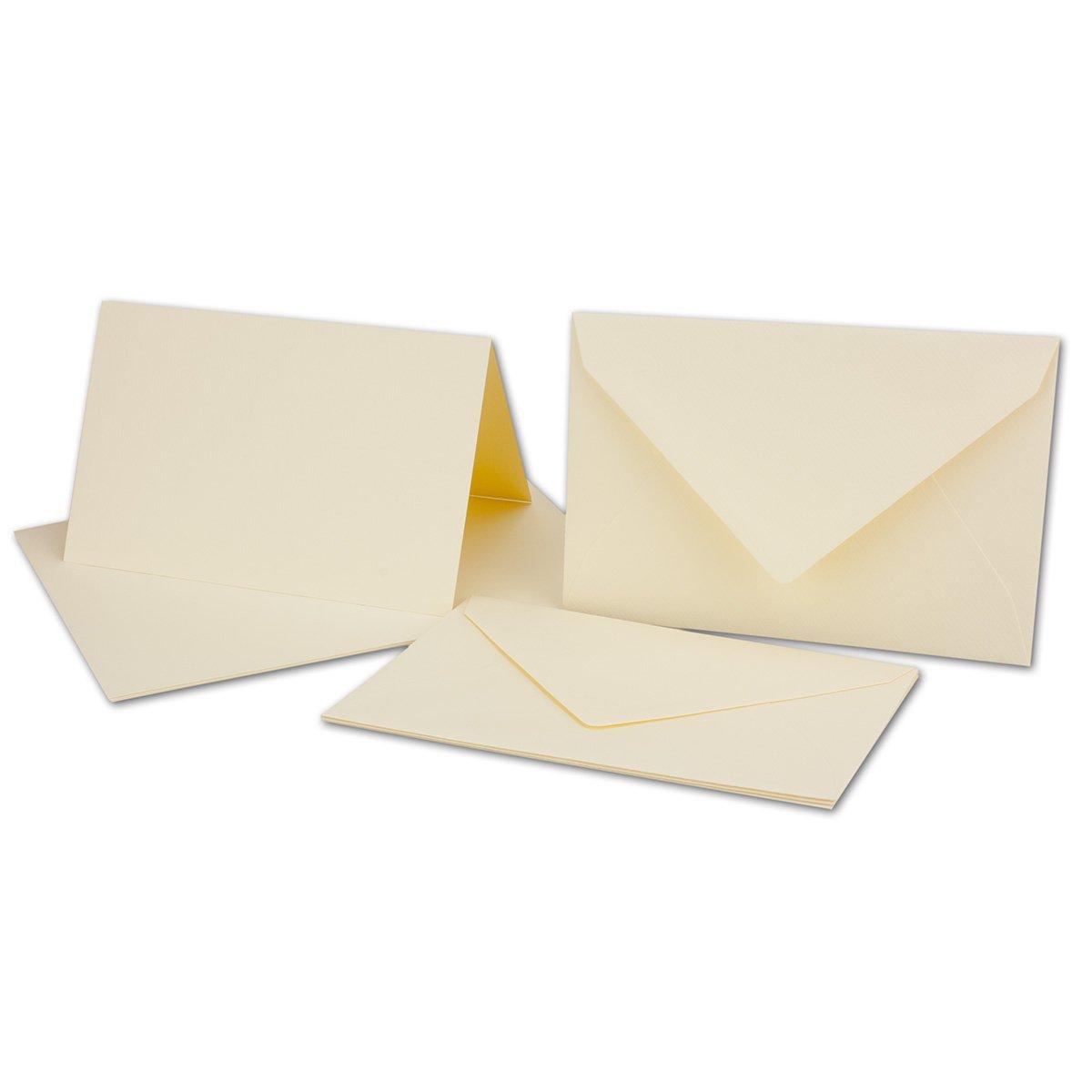 Tarjeta del paquete/plegable Tarjetas/Sobres DIN B6 en en en crema Chamois//acanalados., color Creme-Chamois 100 Sets 75618f