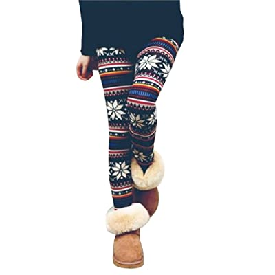 QinMM Pantalones El Invierno de Las Mujeres cálido térmico elástico Leggings Pantalones Invierno Warm Fleece Thermal Stretchy Leggings Pants de Navidad: Ropa y accesorios