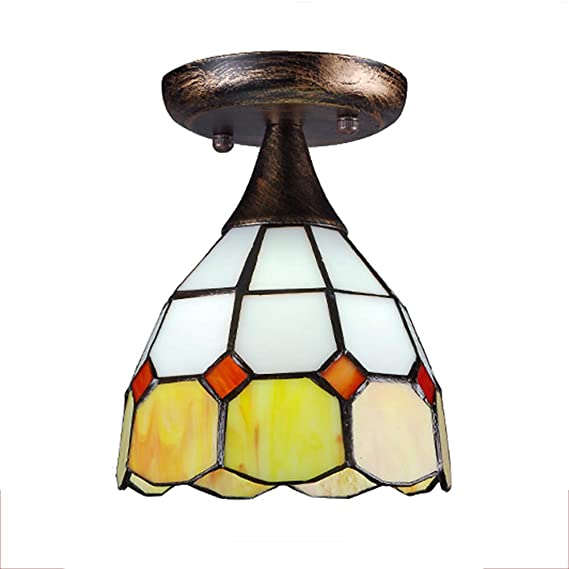 Amazon.com: CCSUN Mini Lámpara de Techo Estilo Tiffany E26 ...