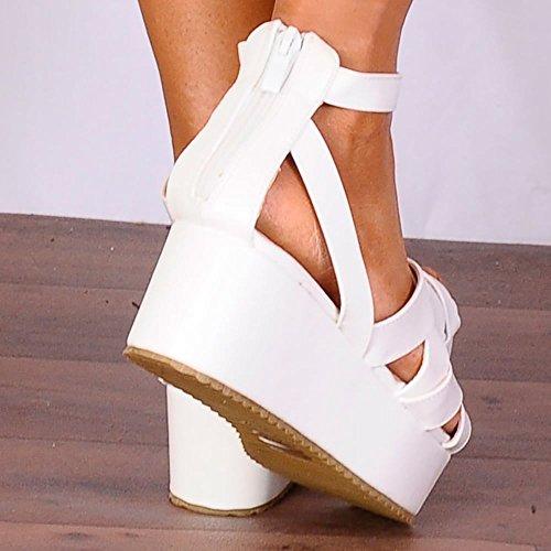 Shoe Closet Ladies White Flatforms White Wedged Platforms Summer Shoes White UoHBhpR