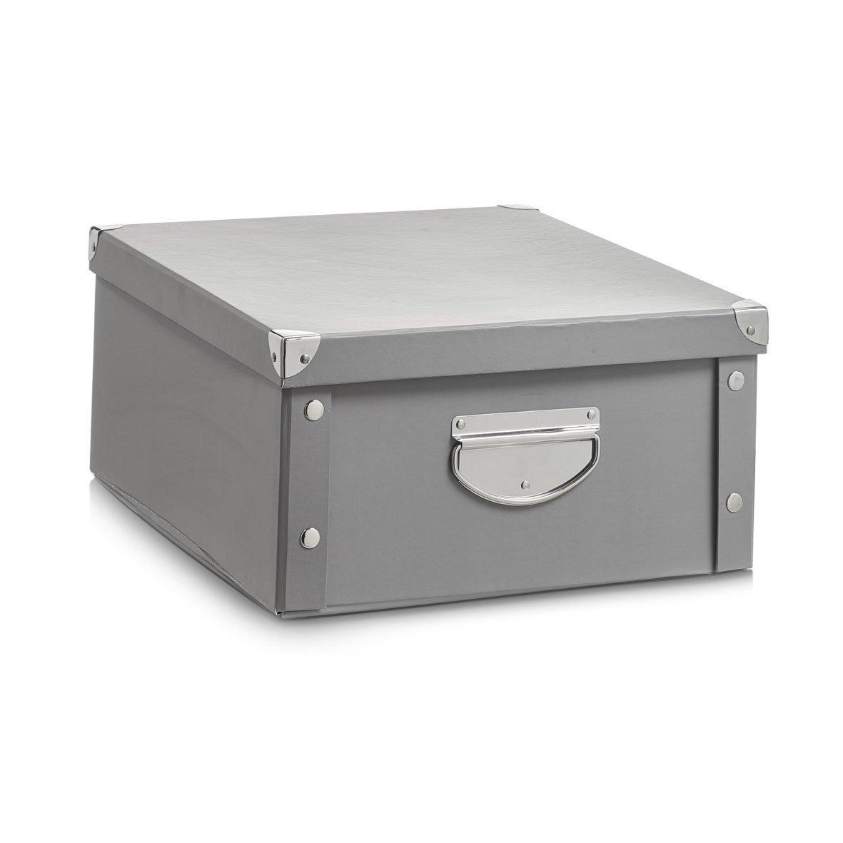Zeller 17599 Caja de almacenaje de cartón Gris (Grau) 40 x 33 x 17 cm: Amazon.es: Hogar