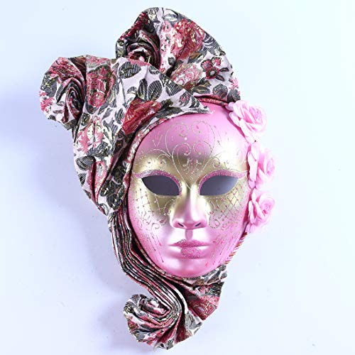 Venetian Style Masquerade Jester Party Full Face Mask(Pink-2)]()
