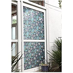Fofon Privacy Window Film No Glue Frosted Static Clings Self-Adhesive Painting Room Decorative Stained Glass Films Flowers 35.43 By 78.74 Inches