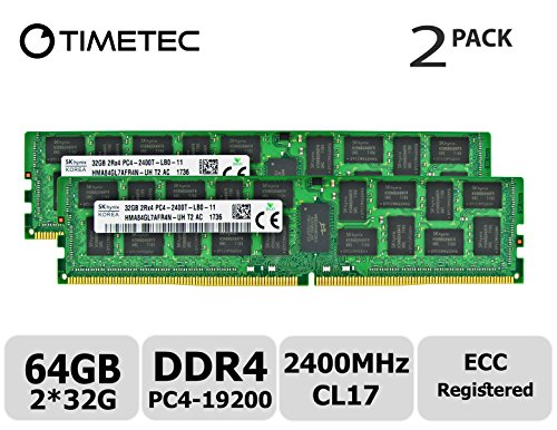 Timetec Hynix 64GB Kit (2x32GB) DDR4 2400MHz PC4-19200 Registered ECC 1.2V CL17 2Rx4 Dual Rank 288 Pin RDIMM Server Memory RAM Module Upgrade (64GB Kit (2x32GB)) -