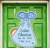 Custom Baby Boy Sign, New Baby Door Hanger Announcement, Personalized Keepsake