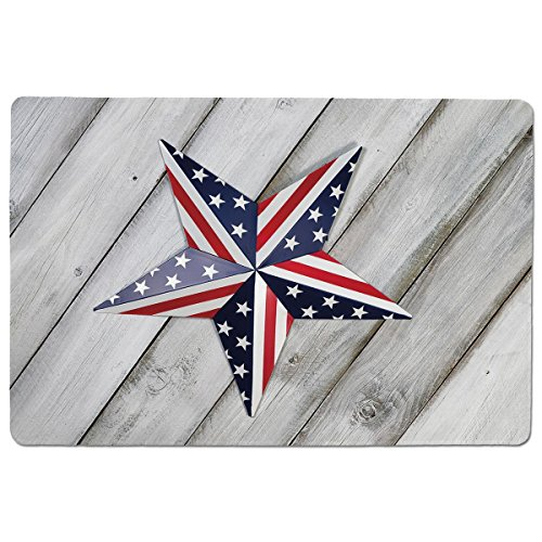 Mouse Pad Unique Custom Printed Mousepad [ 4th of July Decor,Independence Day Banner with Balloons National Parade Country Image,Blue Scarlet ] Stitched Edge Non Slip Rubber