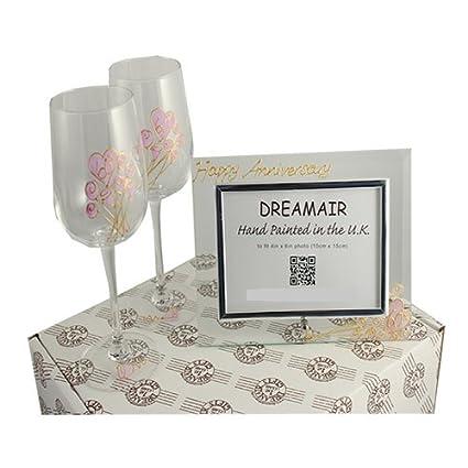 Amazon.com | 60th Diamond Wedding Anniversary Wine Glasses and Photo ...