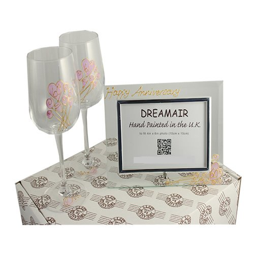 60th Diamond Wedding Anniversary Wine Glasses and Photo Frame Gift Set (Traditional 60th Anniversary Gift)