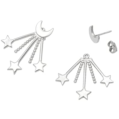 10a977d76 Image Unavailable. Image not available for. Color: Mignon Faget Crescent  Starburst Moon and Star Ear Jacket Earrings, Sterling Silver