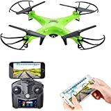 Holy Stone HS110 FPV RC Drone with Camera 720P HD Live Video WiFi 2.4GHz 4CH 6-Axis Gyro RC Quadcopter with Altitude Hold, One Key Return and Headless Mode Function RTF, Color Green