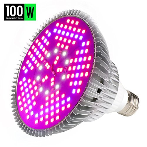100W Led Grow Light Bulb, Plant Lights Full Spectrum for Indoor Plants Hydroponics, Led Plants Bulbs for Flowers Tobacco Garden Greenhouse and Organic Soil (E26 120LEDs)
