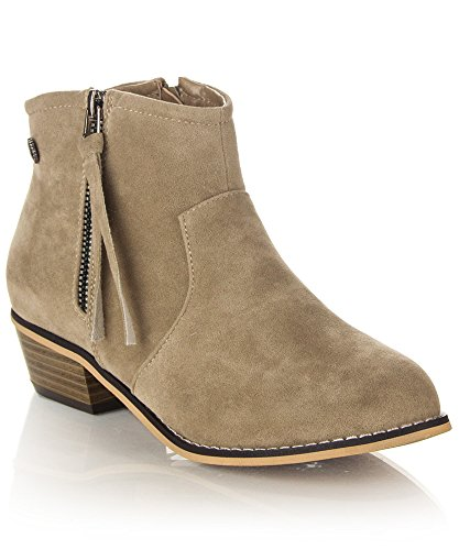 ROF Petty-02 Women's Fashion Western Inspired Almond Pointy Toe Vegan Stacked Heel Ankle Booties