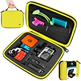 CamKix Protective Carrying Case for GoPro Hero 4, 3+, 3 and 2 and Accessories - Ideal for Travel or Home Storage - Complete Protection for Your GoPro Camera - Carabiner and Microfiber Cleaning Cloth Included -(Medium, Yellow)