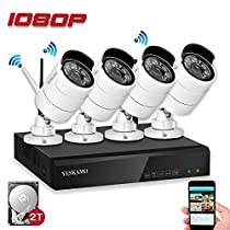 Security Camera System, YESKAM Home Security Camera System Wireless 1080P 4 Channel Full HD 2.0 Megapixel Outdoor IP Video Network Surveillance Cameras  System With 2TB Hard Drive
